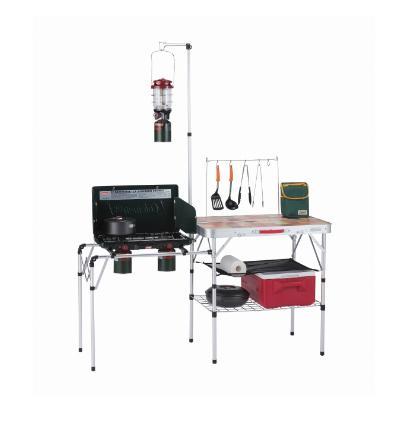 収納棚からランタンスタンドまで必要なものが全て揃ったコンパクト収納のキッチンテーブル