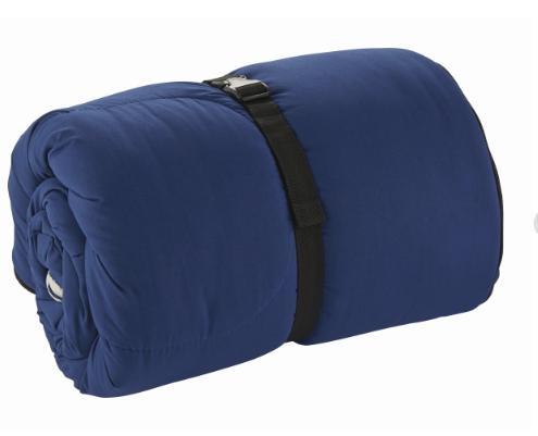 快適温度:5℃以上 付属品:EZキャリーケース 重量:約1.9kg  サイズ: (使用時)約84×190cm (収納時)約φ28×42cm  材質:表地/ポリエステル 裏地/ポリエステル、フリース 中綿/ポリエステル