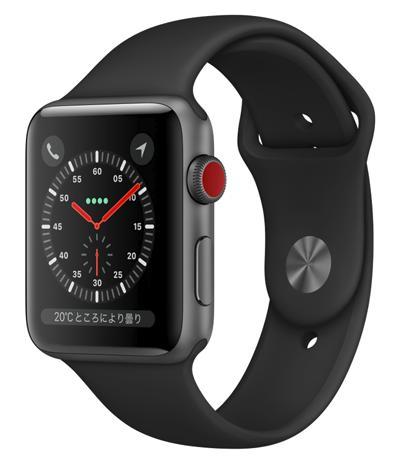 AW-20B Apple Watch Series 3(GPS + Cellularモデル)42mmスペースグレイアルミニウムケースとブラックスポーツバンド MQKN2J/A