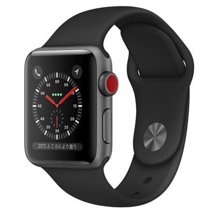 【8月終了予定】AW-20A Apple Watch Series 3(GPS + Cellularモデル)38mmスペースグレイアルミニウムケースとブラックスポーツバンド MQKG2J/A