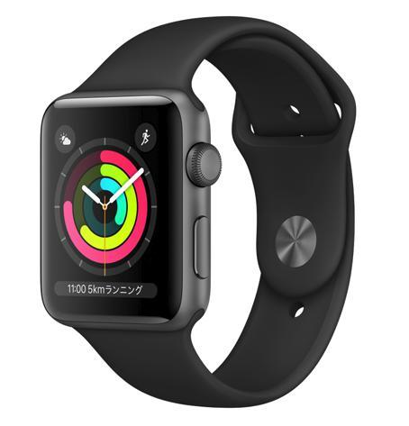 【8月終了予定】AW-13A Apple Watch Series 3(GPSモデル)42mmスペースグレイアルミニウムケースとブラックスポーツバンド MQL12J/A