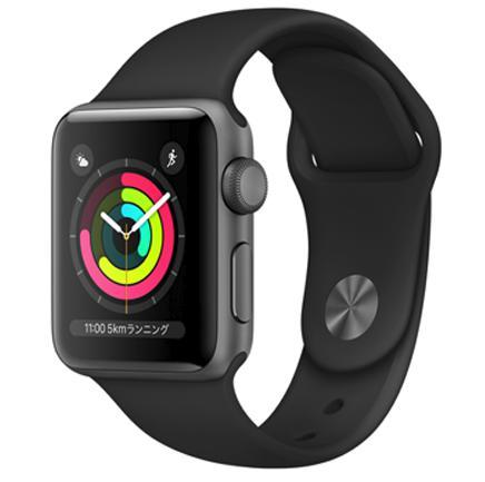 【8月終了予定】AW-12A Apple Watch Series 3(GPSモデル)38mmスペースグレイアルミニウムケースとブラックスポーツバンド MQKV2J/A