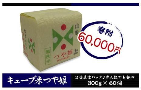 山形産 無洗米キューブ米つや姫300g×60個