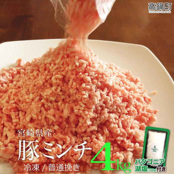 <宮崎産豚ミンチ4kg+塩>2019年7月末迄に順次出荷 宮崎県児湯郡高鍋町